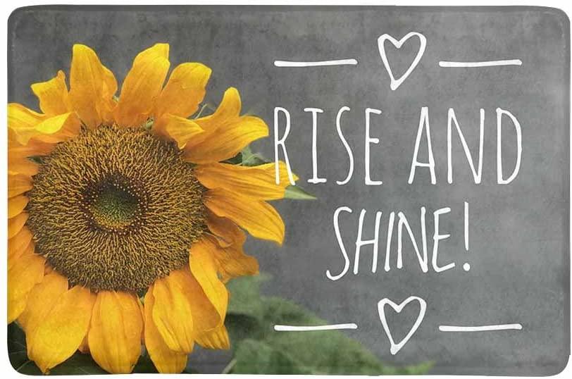 InterestPrint Sunflower with Motivational Quote Rise and Shine Doormat Non Slip Indoor/Outdoor Floor Mat Home Decor, Door Mat Entrance Rug Rubber Backing 23.6