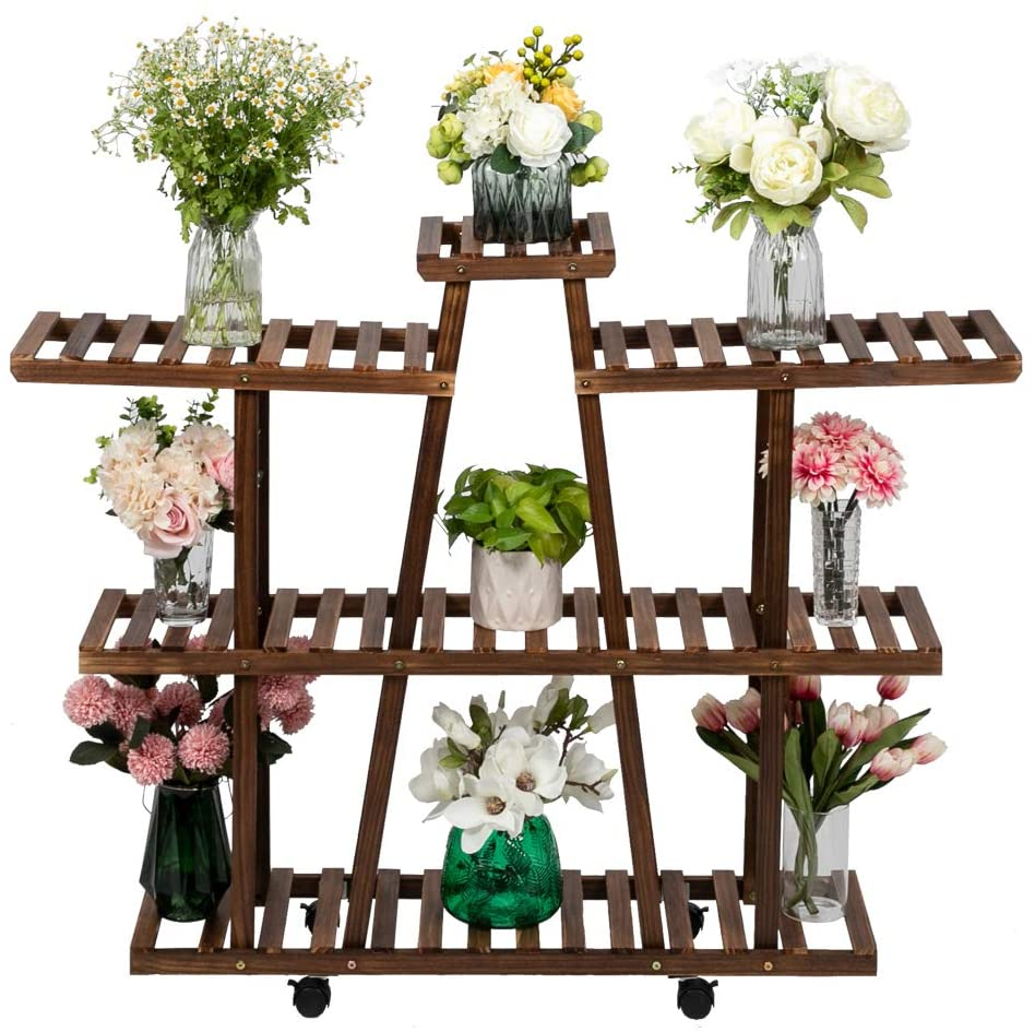 Carbonized Wood Plant Stand on Wheels, Patio Herb Display Shelf Holder, Easy to Move, Waterproof, Wood Grain (3-Tier)