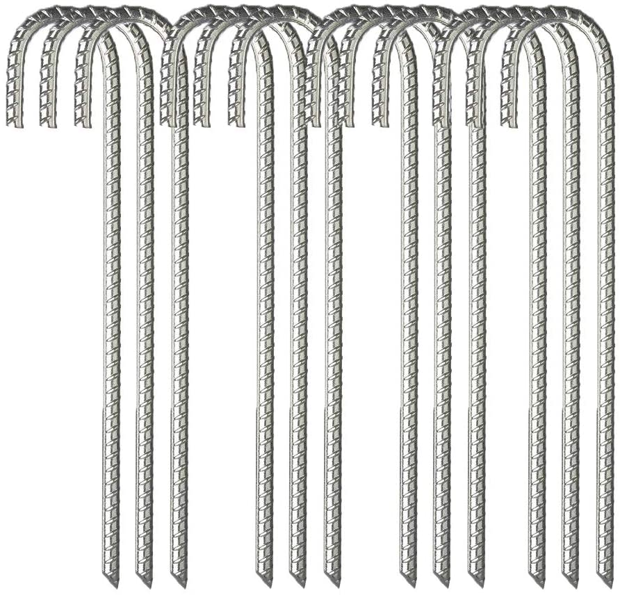 MOLPE 12 Pack Galvanized Rebar Tent Stakes J Hooks 16 Inch, Dog Dig Defence Chain Link Fence Stakes Canopy Yard Landscape Garden Staples, Heavy Duty Metal Steel Ground Anchors, Silver