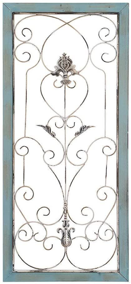 AHUA Large Modern Industrial Wall Decor, Classic Wood Metal Wall Panel, Metal Wall Decor, Rectangle Wooden Frame Wall Panel with Scrolled Metal Accents, Iron Rustic Vintage Scrolled Metal Wall Art