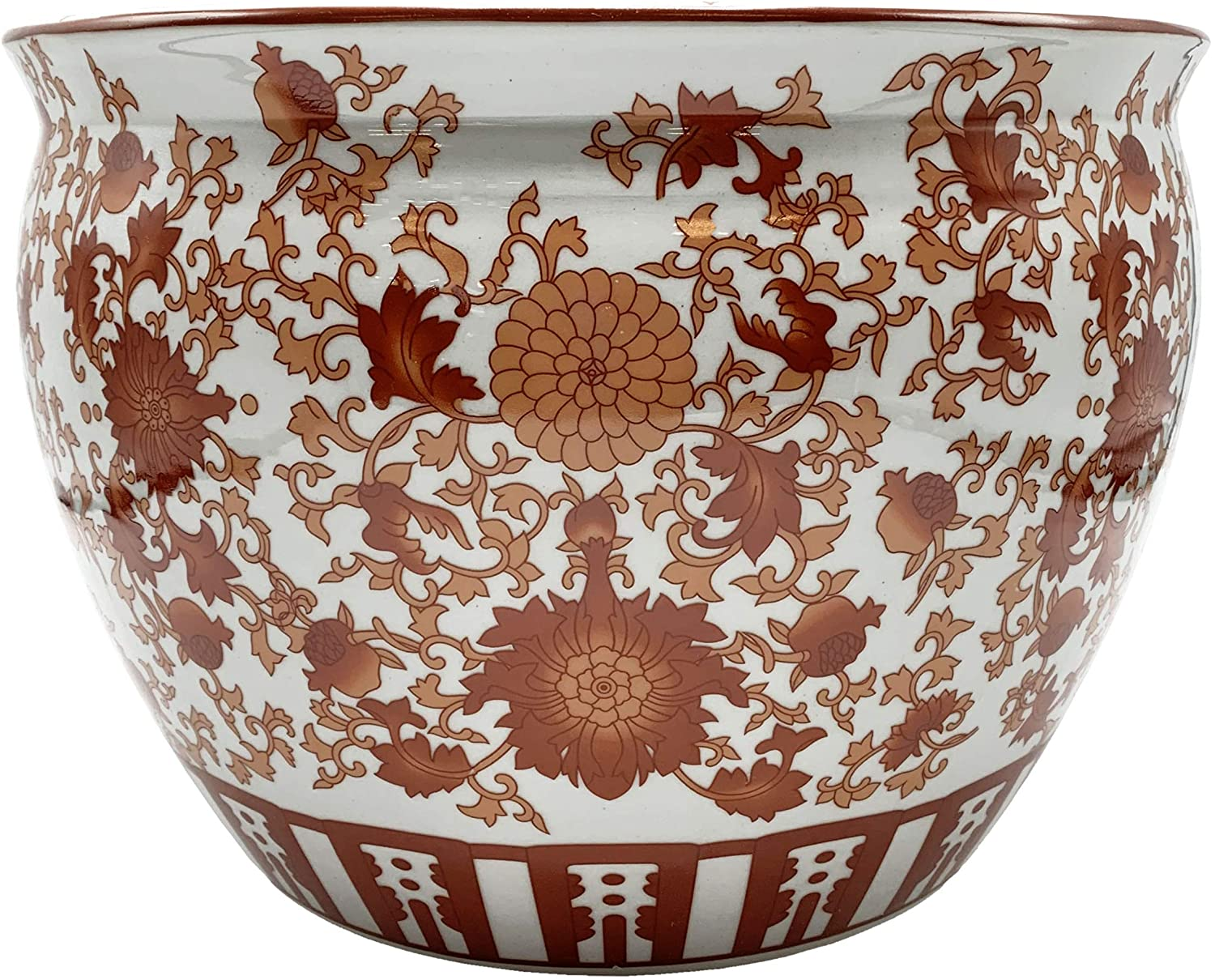 Oriental Fish Bowl Red Coral Pattern 12 Inch Dia