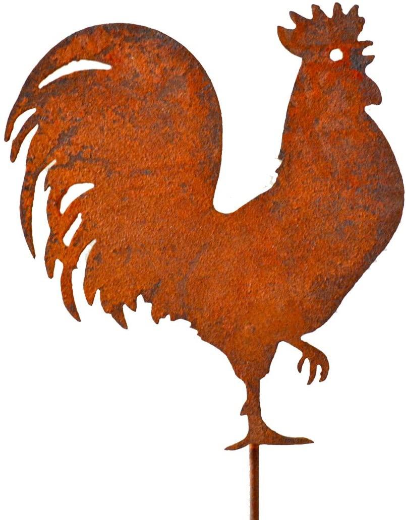 Elegant Garden Design Rooster Pick, Rusty Patina