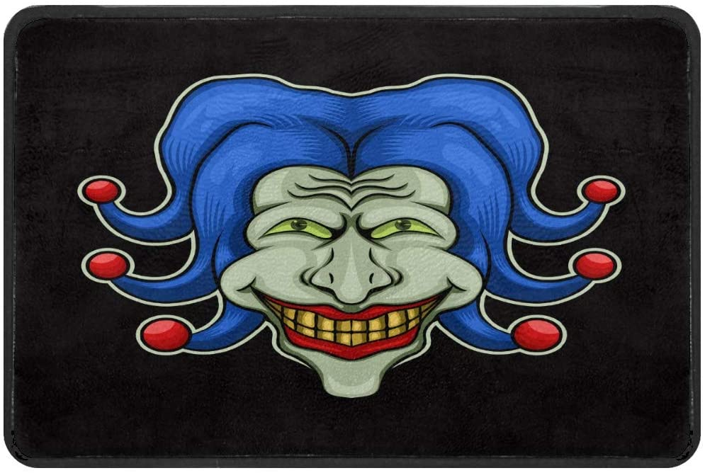 Door Mat - Welcome Mat Front Doormat Funny Joker Man Floor Mat Resist Dirt Entrance Rug Machine Washable Carpet for Home Indoor and Outdoor Non Slip for Kitchen/Bathroom/Laundry Room