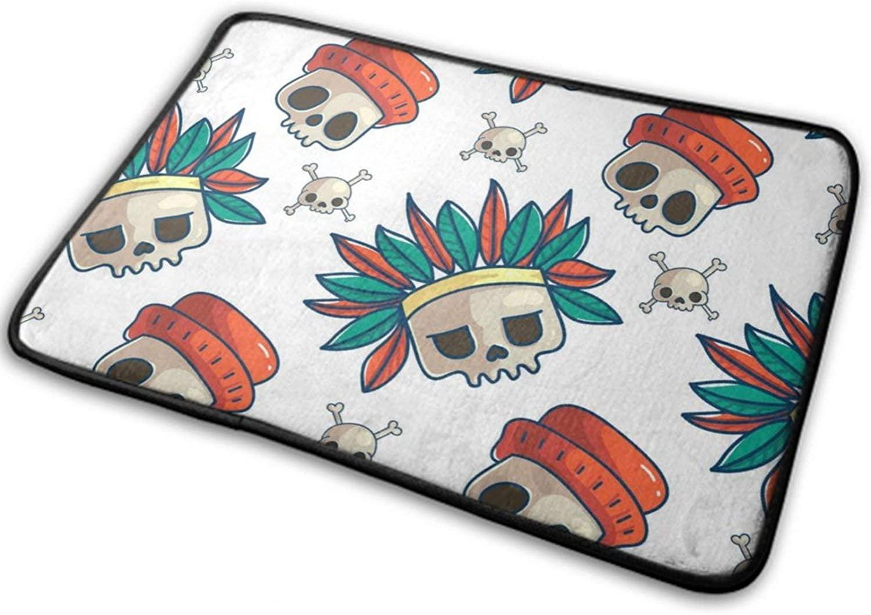 NiYoung Halloween Front Door Mat Outdoor Rugs (15.8 Inchx23.6 Inch) Funny Ultra Soft Flannel - Skull
