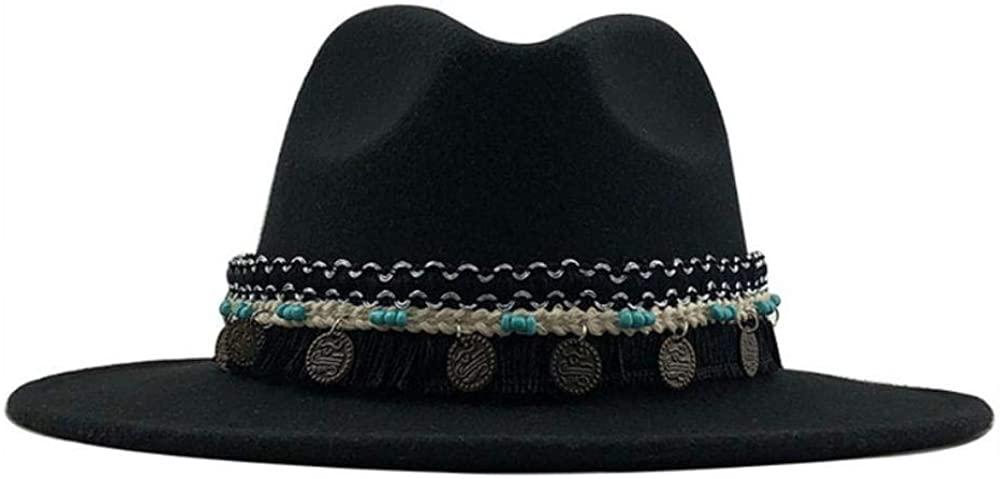 Fedora Men Wool Felt Wide Brim Hat Vintage Couple Cap 56-58cm