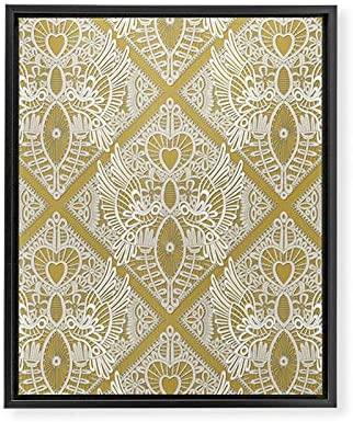 Deny Designs Shanon Turner Love Bird Lace Black @Gold Framed Art Canvas, 16