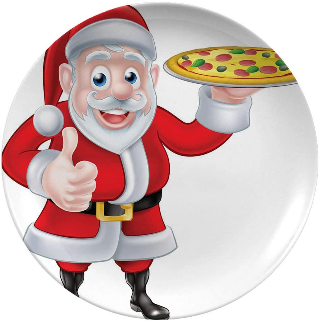 Christmas Porcelain Dinner Plates,Santa With Pizza,dinner Plates For Indoor And Outdoor Use,break-resistant,10 Inch 6 Piece Set