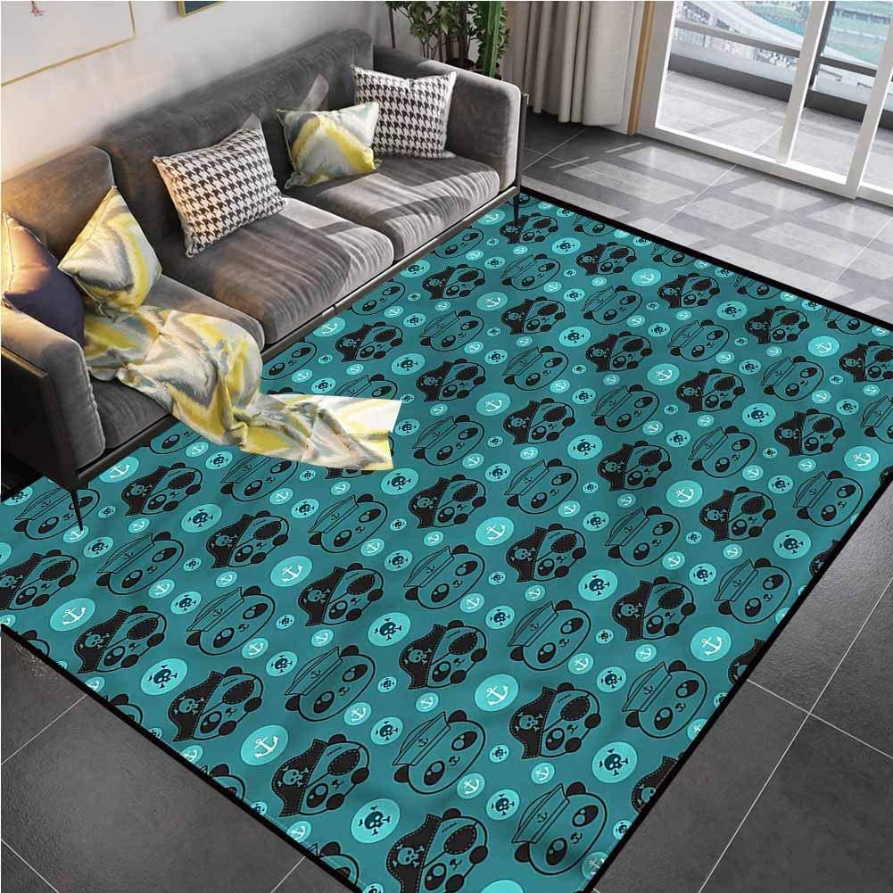Area Rug Print Large Rug Mat Panda,Pirate Sailor Bears Skulls Bedroom Rug for Living Room Bedroom Playing Room 6'6