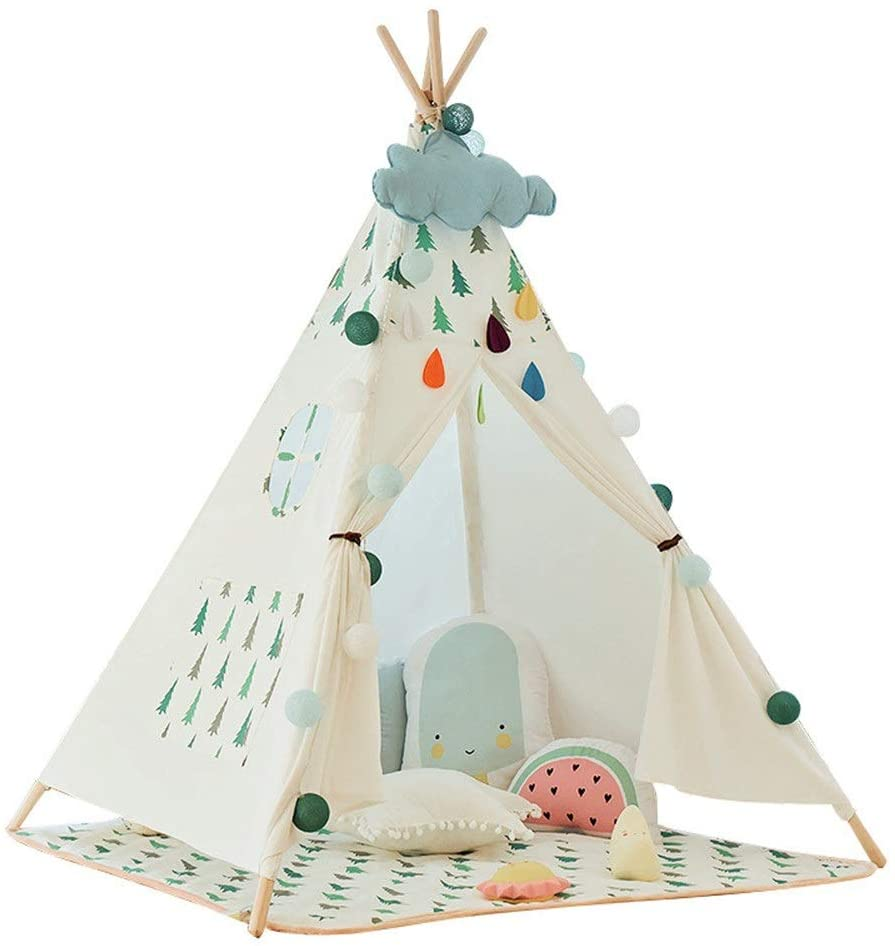 Kids Play Tent for Indoor Outdoor Indian Children's Tent Christmas Tree Decoration Kids Play Folding Game Tents Cotton Canvas Teepee With Mat Window Pocket Portable Teepee Game Toy Boys Girls
