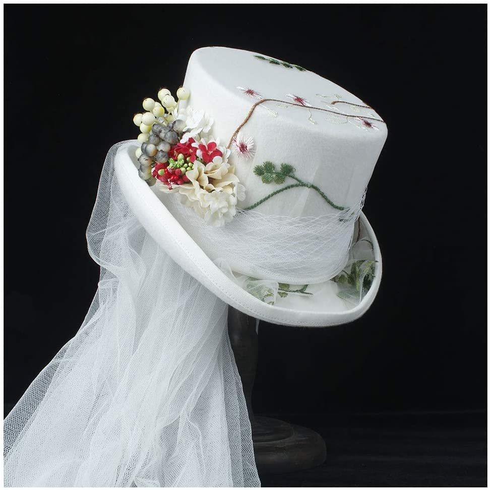 CAIYAN 4 Sizing White Flower Wedding Steampunk Wedding Top Hat Winter Wedding Top Hat Ivory Rockabilly Georgian Marie Antoinette (Color : White, Size : 59cm)