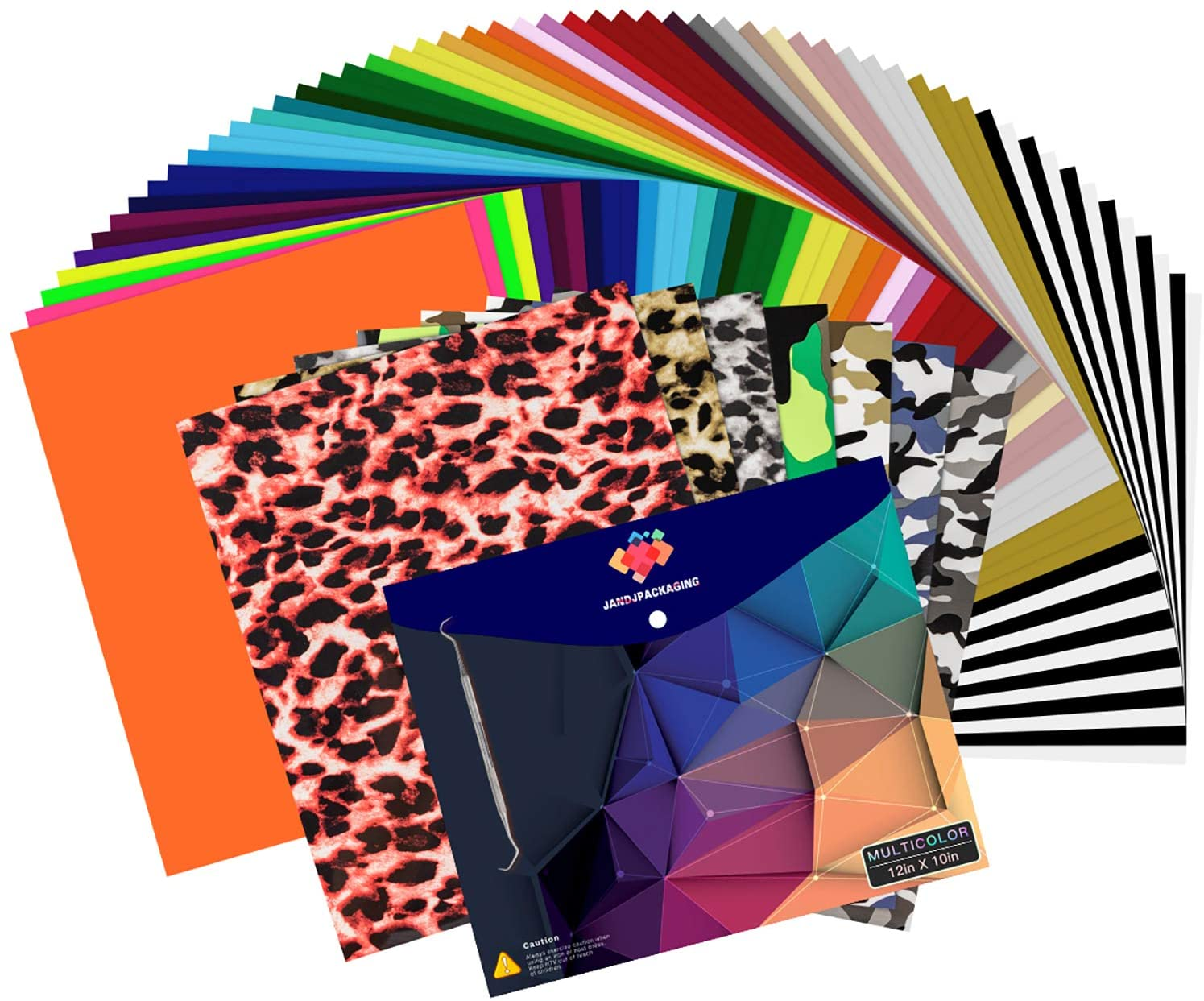 HTV Heat Transfer Vinyl Bundle - 65 Pack Iron on Vinyl Bundle 12