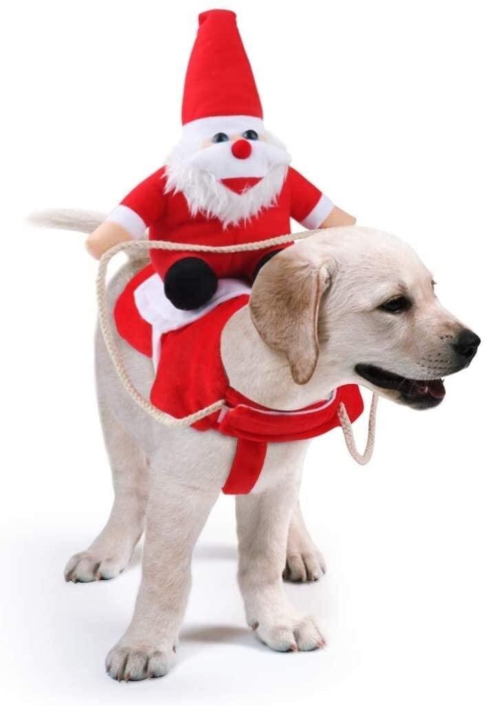 Zwr Dog Santa Claus Pet Cowboy Rider Horse Christmas Costume, Apparel Party Dress Up Clothing (Size : XX-Large)
