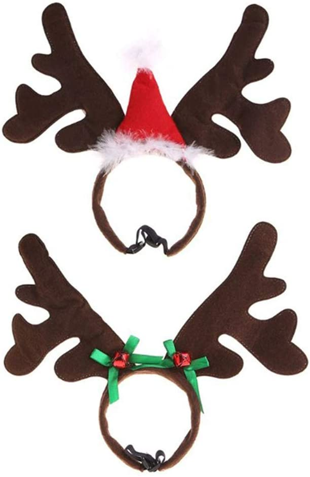 redcolourful Cute Christmas Pet Headband Deer Horn Hat Headgear Costume Dog Puppy Cat Cosplay Party Prop