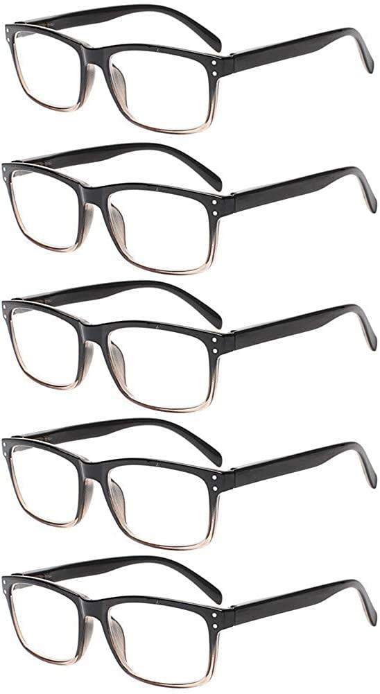 5 Pack Unisex Vintage Readers Spring Hinges Rectangular Reading Glasses Includes Sun Readers
