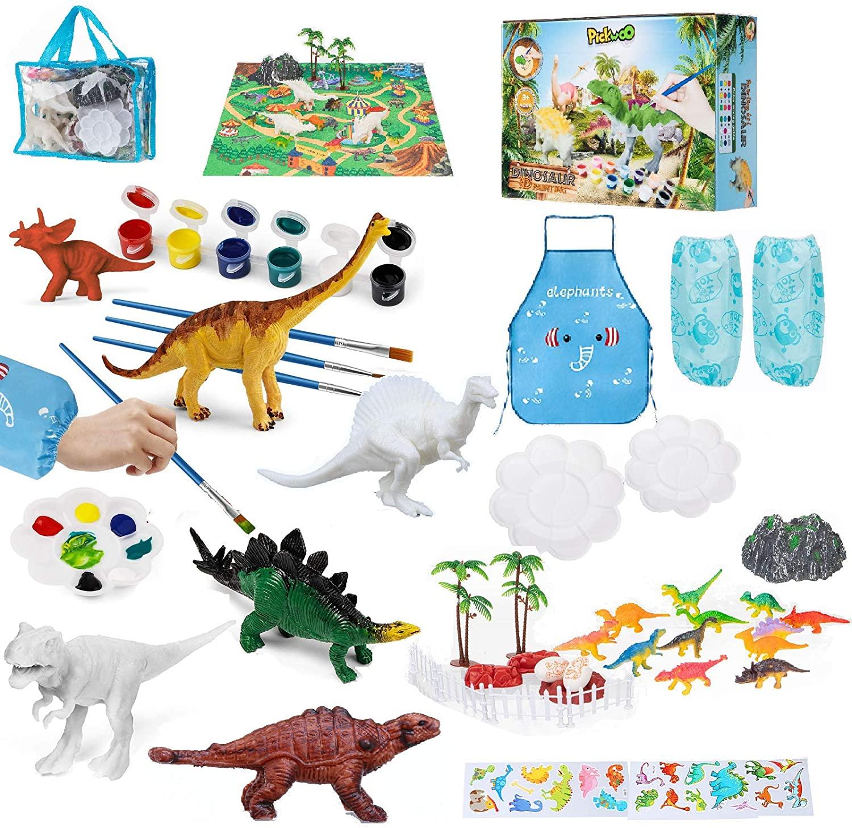 Pickwoo Dinosaur Painting Kit Kids Crafts 3D Painting Dinosaurs Toys 43 Pcs STEM Kids Crafts and Arts Set DIY Easter Paint Dinosaur Animal Set Creativity Gifts Toys for 6 7 8 9 Years Old Boys Girls