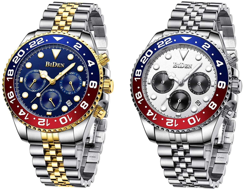 Mens Watches Business Designer Chronograph Waterproof Luminous Analogue Quartz Watch Men Stainless Steel Wrist Watch Fashion Date Big Face Watches for Men