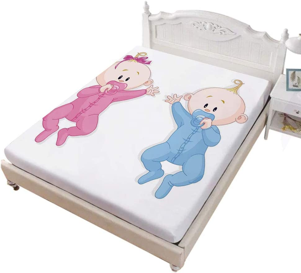 SoSungSet Duvet Queen Size Fitted Sheet,Babies Lie and Keep The Pacifiers Lovely Toddlers Sweet Childhood Bed Cover with All-Round Elastic Deep Pocket for Oversized Mattress,Pink Blue and Peach
