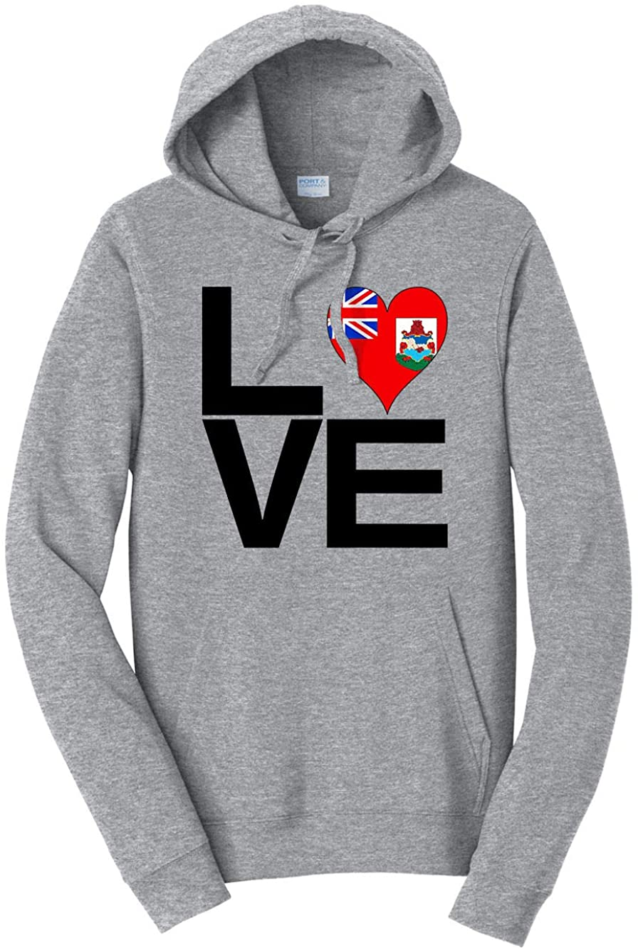 HARD EDGE DESIGN Unisex Love Block Bermuda Heart Hooded Sweatshirt, Medium, Heather Grey