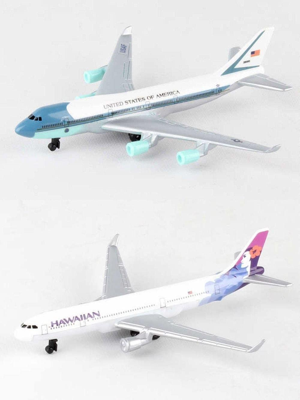 Daron Air Force One, Hawaiian Airlines Diecast Airplane Package - Two 5.5