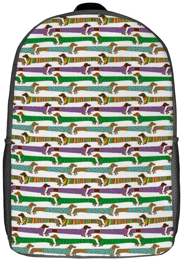17 Inch Lightweight Backpacks for Teens Men Women Funny Cartoon Long Dachshund Dogs Pattern Fashion School Bags for Camping