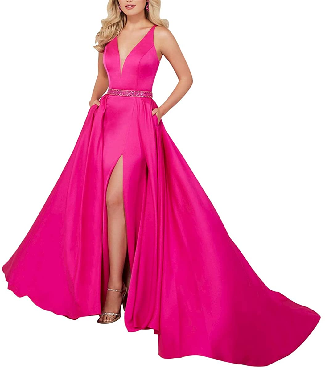 Rjer V Neck Satin Prom Dresses Beaded Long A Line Slit Formal Ball Gowns with Pockets