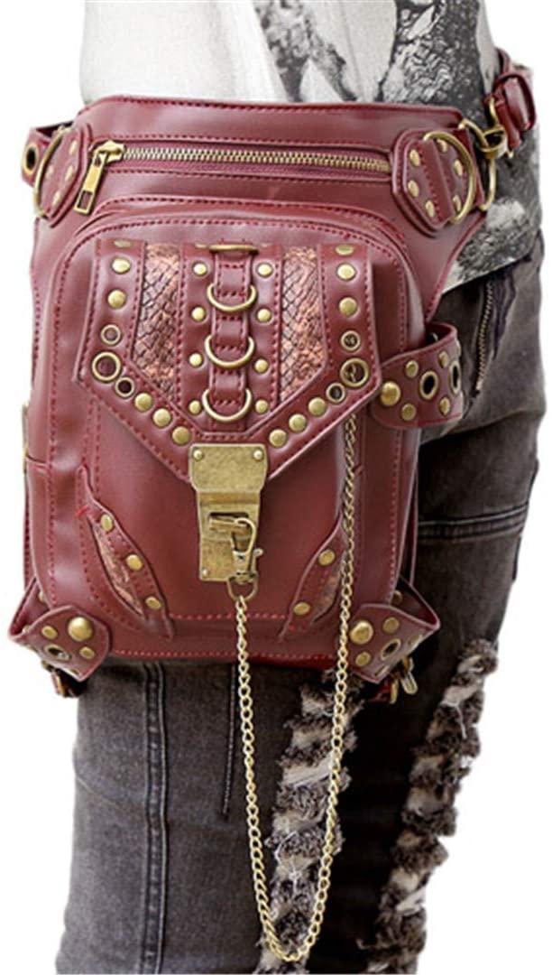 DiaoPiou Women Leather Waist Bags Steampunk Fanny Packs Gothic Shoulder Messenger Bag Crossbody Bags Holster Leg Bag