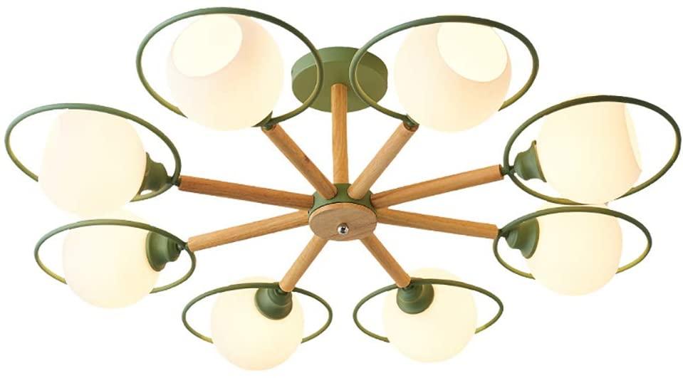 Wood Mid-Century Sputnik Chandelier Ceiling Light Semi-Flush Mount Pendant Lighting Glass Shade Adjustable Pendant Light Fixture Hanging Lamp