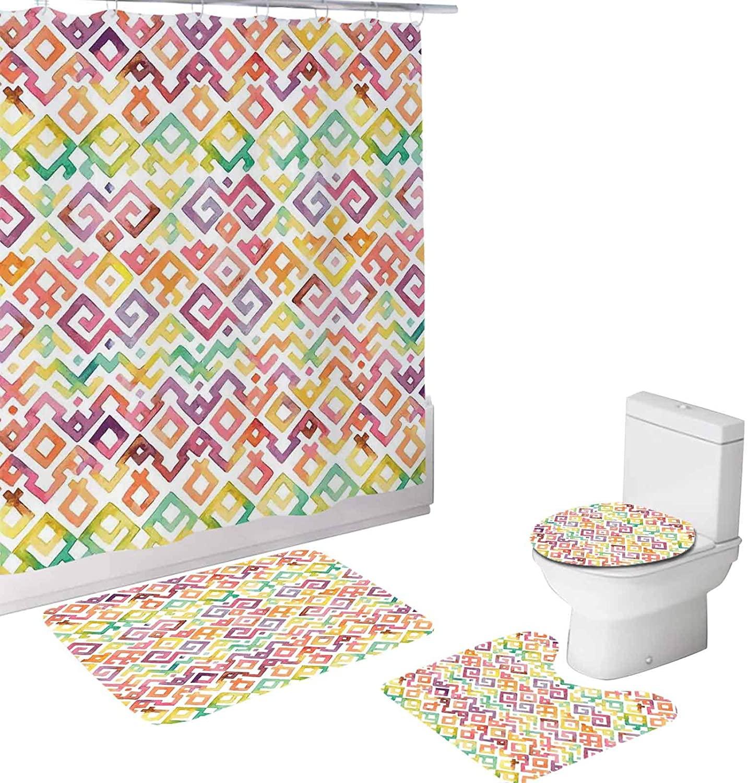Native 4 Piece Bathroom Set,Watercolor Traditional Tribal Aztek s South,72
