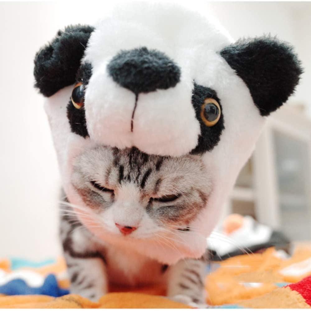 AUED Halloween Pet Dog Cat Hat Headwear Pet Dress Up Cat Panda Hat Funny Pet Headgear Cosplay Decoration Halloween Cosplay Party Black,Panda,S