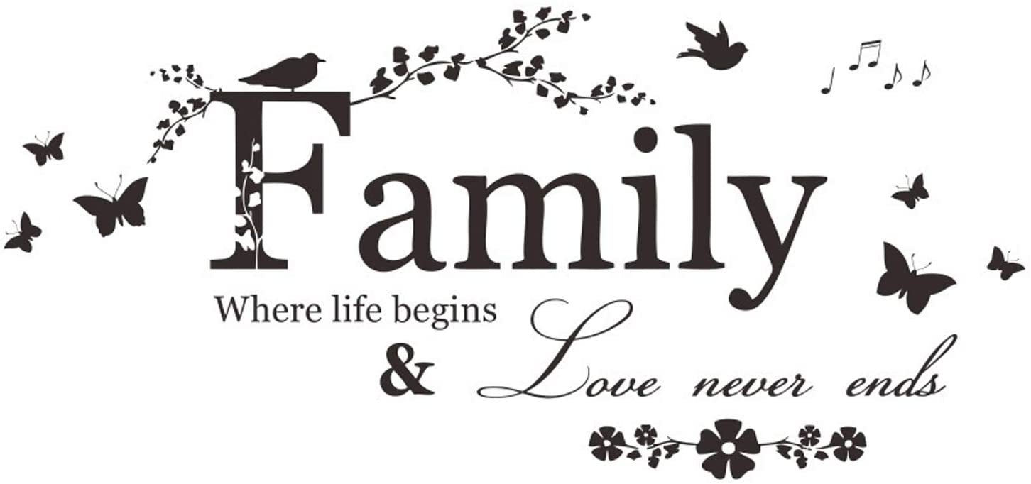 Family Letter Quote Removable Wall Stickers, YINASI Inspirational Vinyl Wall Decal Words Quote Wall Art Sticker Home Decor for Bedroom Living Room(Family Where Life Begins Love Never Ends)