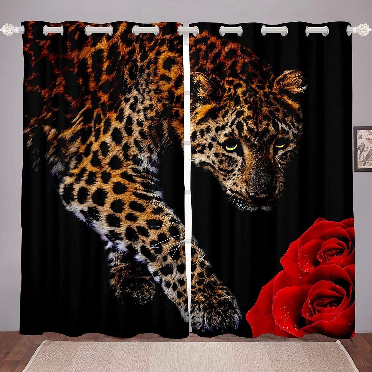 Erosebridal Leopard Window Curtains,Cheetah Curtain for Adult,Leopard Print Window Treatments Rose Flower Window Drapes African Savanna Animal Fashion Dorm Bedroom Decor 42