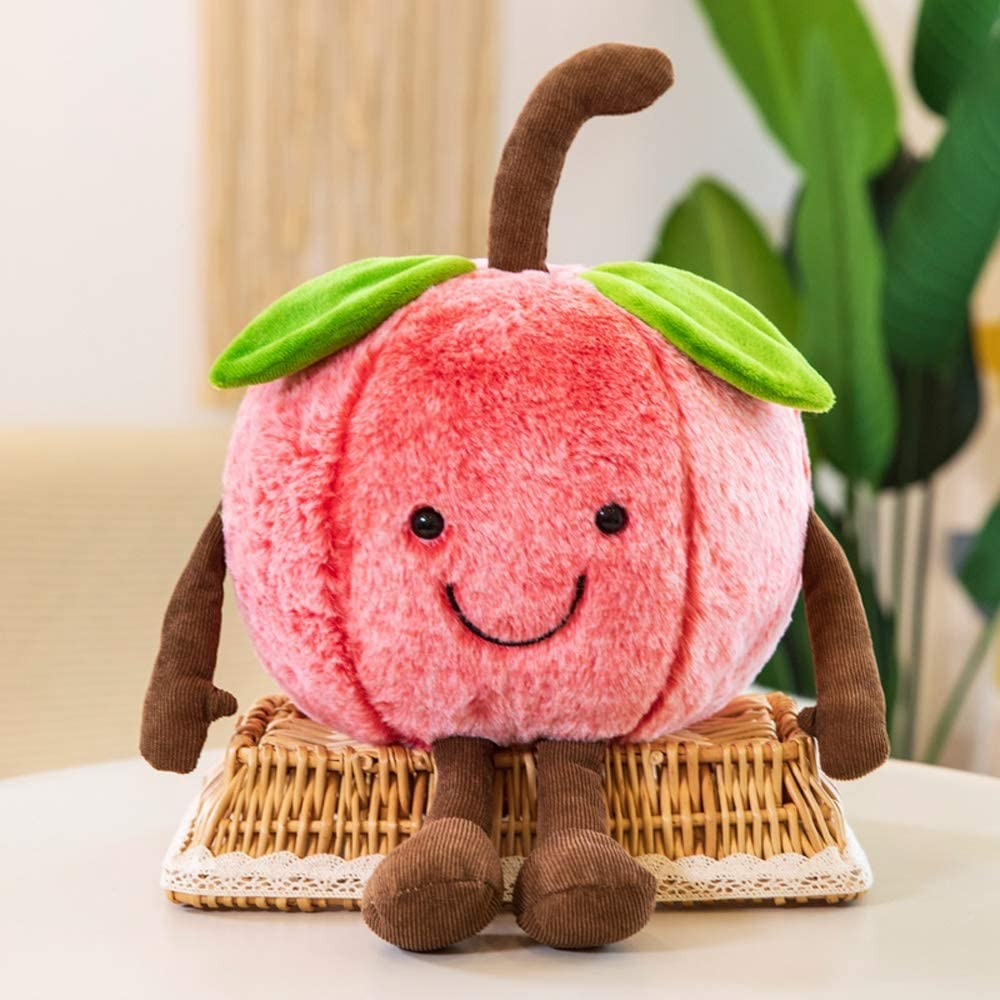 Pcqre Kids Simulated Apple Fruit Pillow Soft Fruits Plush Toys Pink Apple Stuffed Cushion Cute Fruit Doll for Baby Toddler, Bed Sofa Soothing Hugging Pillow Cushion Home Pets Toy Gift
