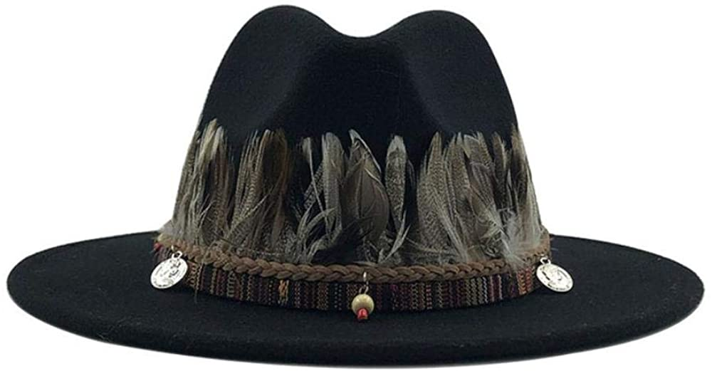Simple Men Wool Fedora Hat with Feather Gentleman Elegant Lady Winter Autumn Wide Brim Church Sombrero Cap 56-58cm