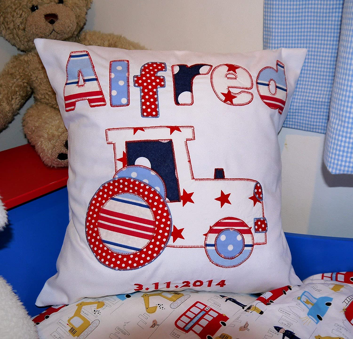 Baby Boy gift Personalised boys pillow Tractor Nursery decoration Farm applique fabric tractor and name with embroidered date. STANDARD DELIVERY 7 DAYS