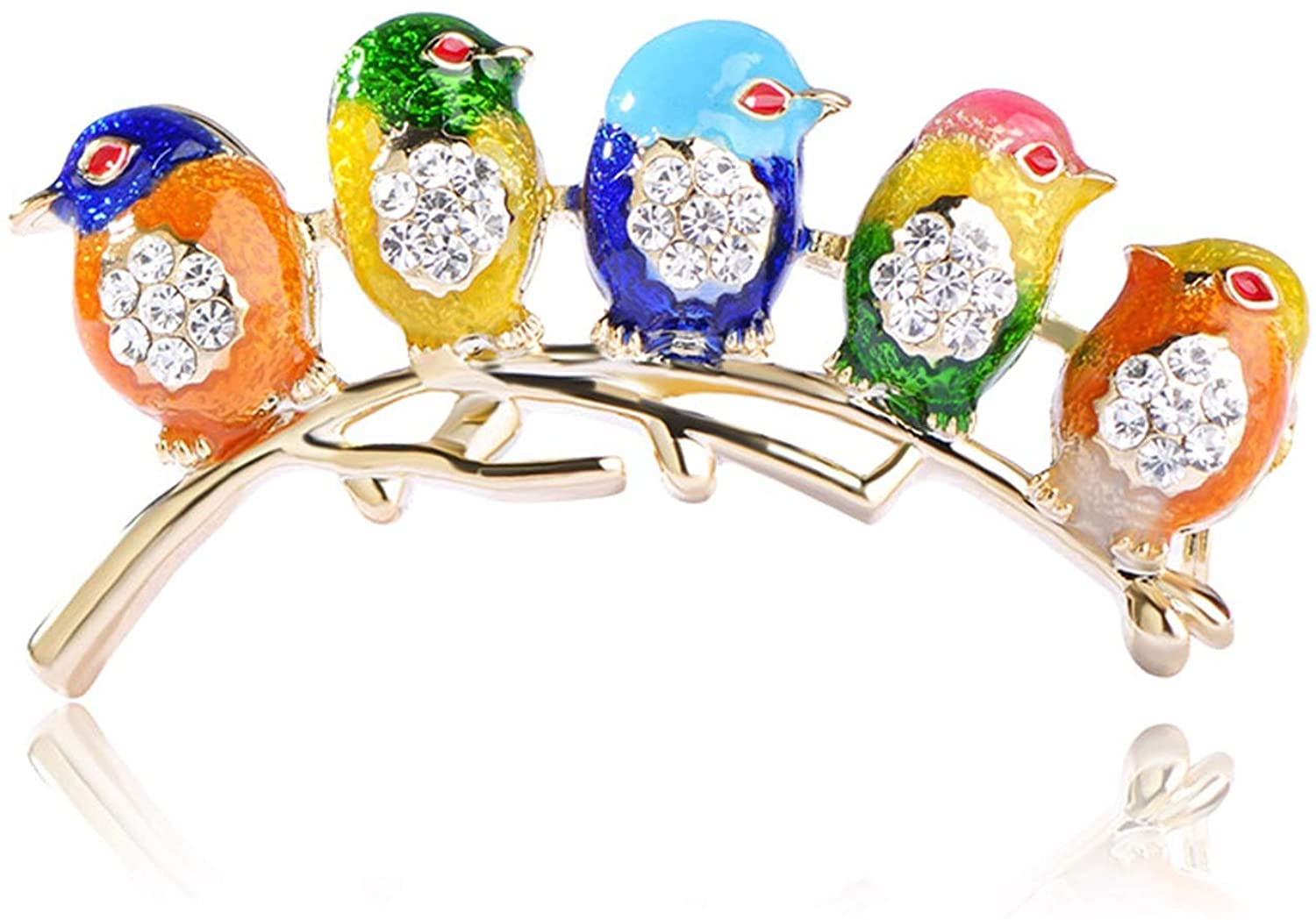 myeuphoria Colorful Five Cute Birds Brooches Crystals Enamel Jewelry for Scarf Suit Collar Corsages
