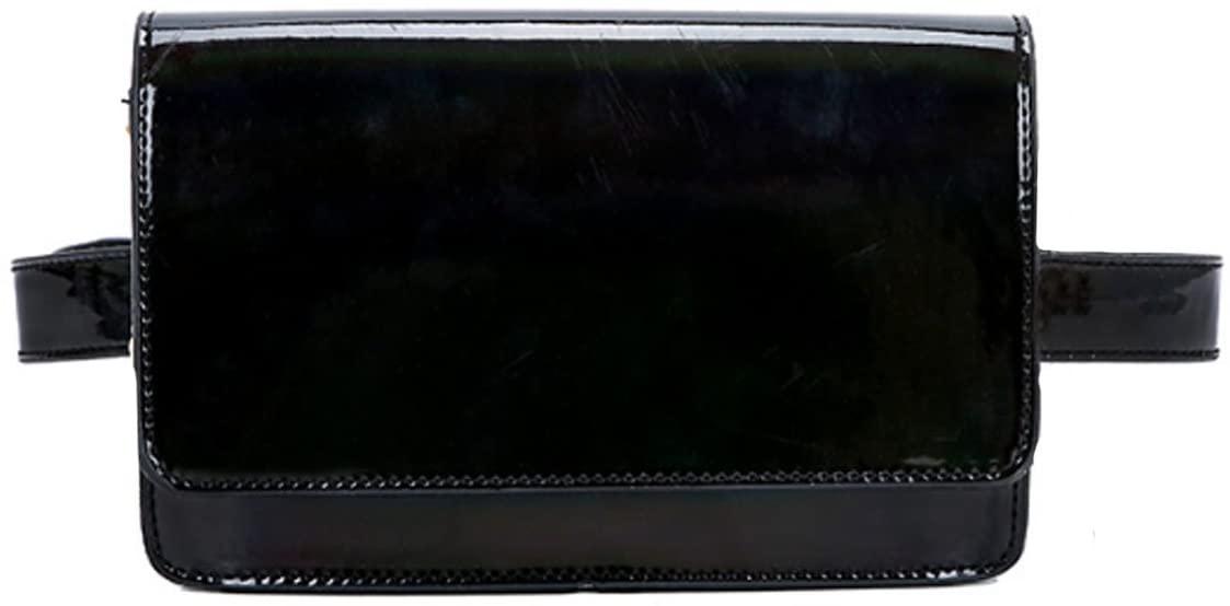Monique Shiny Holographic Fanny Pack Removable Belt Waist Bag Mini Chain Cross-body Bag Salesman Purse Phone Pouch Black