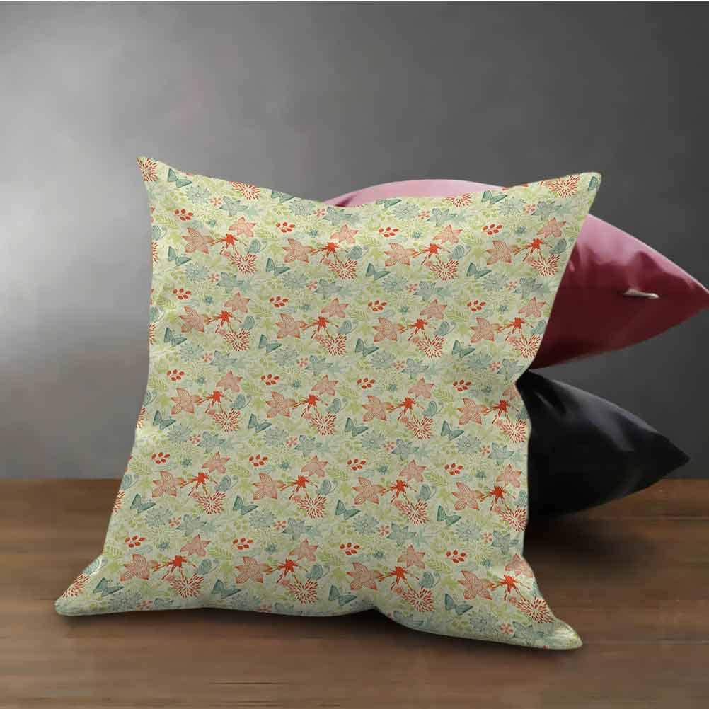 Retro Throw Pillow Cover Butterflies and Wildflowers Pattern on Color Splash Background Used for Sofa,Office,Bedding,Car and Couch Petrol Blue Pale Green Dark Coral (12
