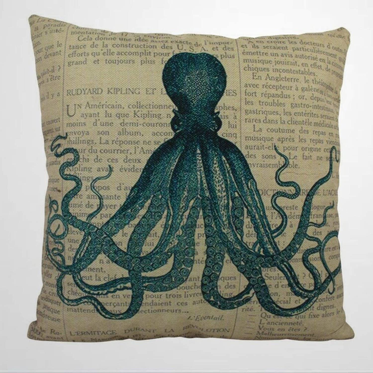 DONL9BAUER Octopus Coastal Nautical Decorative Throw Pillow Cover, Modern Design Throw Pillowcase,18x18 Inch Personalised Cushion Cover for Home Couch Sofa Bed Chair.