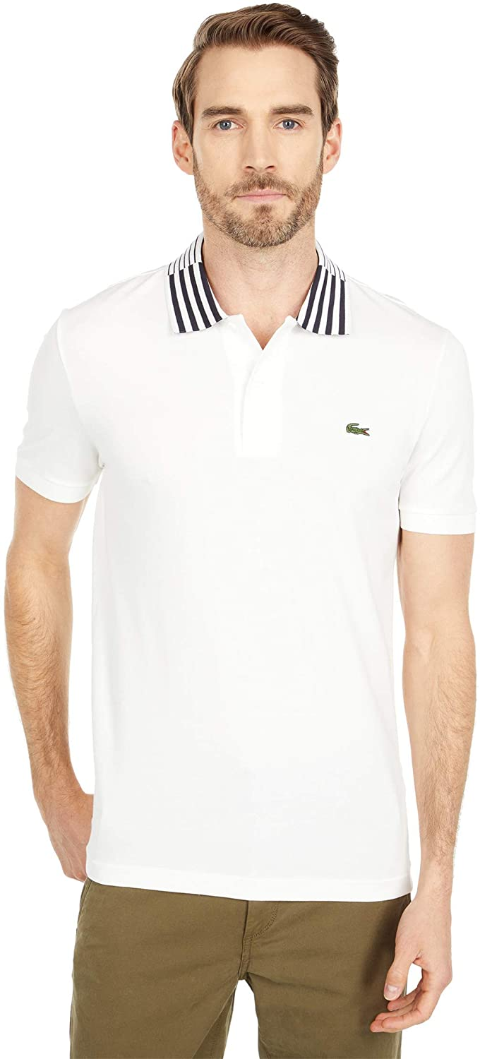 Lacoste Men's Short Sleeve Striped Color Slim Fit Pique Polo Shirt