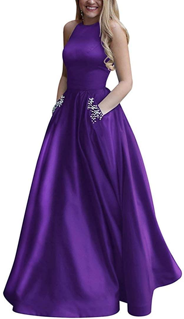 Monalia Women's A-Line Prom Gown Halter Long Formal Dresses Floor Length