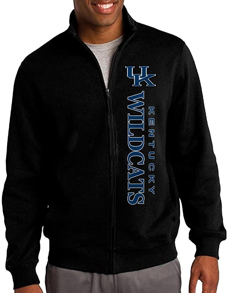 Men Kentucky Wildcats Logo Zip-up Jacket Hooded Sweatshirt Black