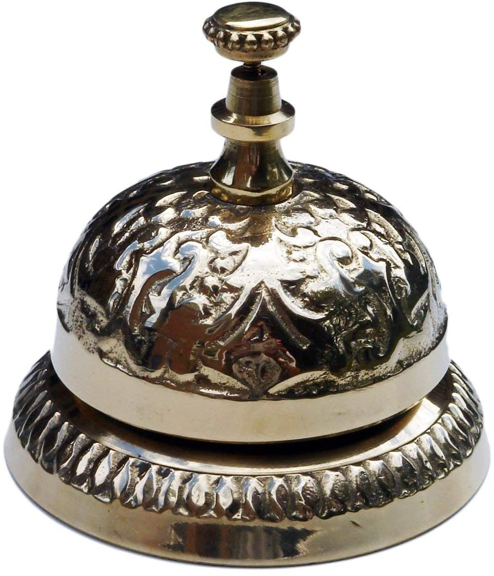 UDL Solid Brass Victorian Style Desk Call Bell Desktop Ring Service Counter Bell Hotel Reception Bell 3 1/4