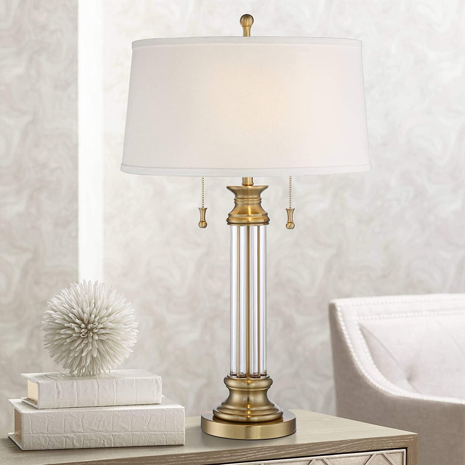 Rolland Antique Brass Crystal Column Lamp with Table Top Dimmer - Vienna Full Spectrum