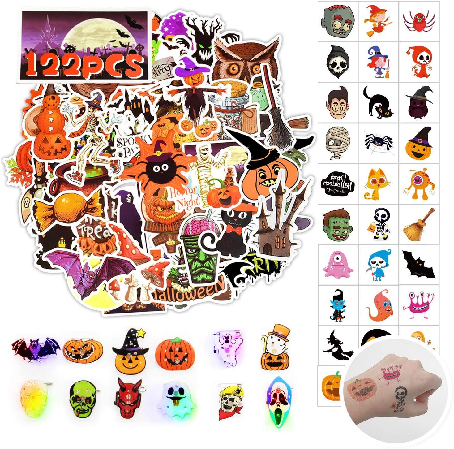 Halloween Stickers(50 Pcs)&Halloween Temporary Tattoos(60 Pcs)&Halloween Led Brooches(12 Pcs) Happy Halloween Decorations,Party Favors, Halloween Class Exchange