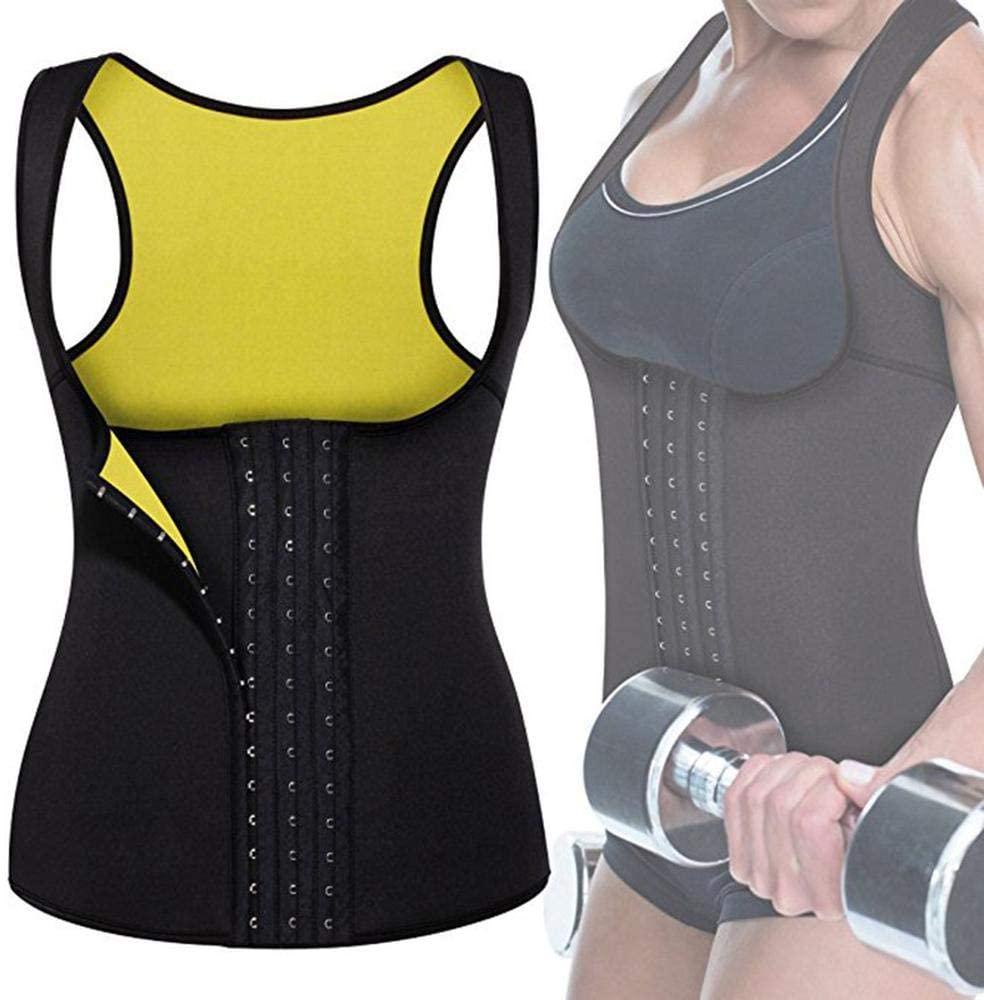 SHOUFU Womens Waist Trainer Neoprene Waist Trainer Cupless Vest Waist Cincher Steel Boned Waist Training Belt Corset Black+Yellow-M