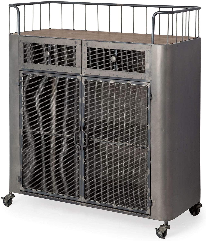 HomeRoots Gray/Brown Metal/Wood Rectangular Rustic Metal with Metal Door/Wood Top and Two Shelves Bar Cart