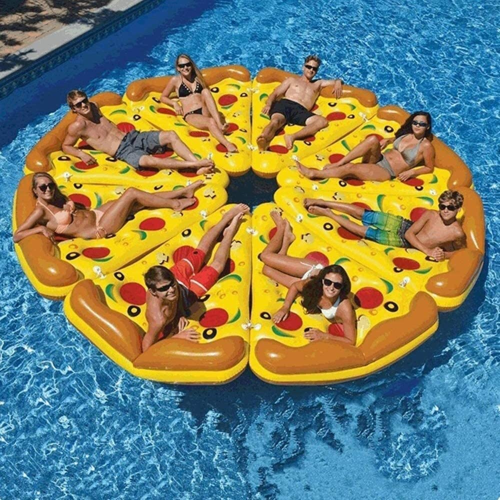 XKstyle Summer Fashion Folding Swimming Pool in The Summer, and Inflatable Mattresses Creativity Pizza Floating Mountain Beach Water Floating Bed Adult Swim Ring 180 135 30 cm Float Line