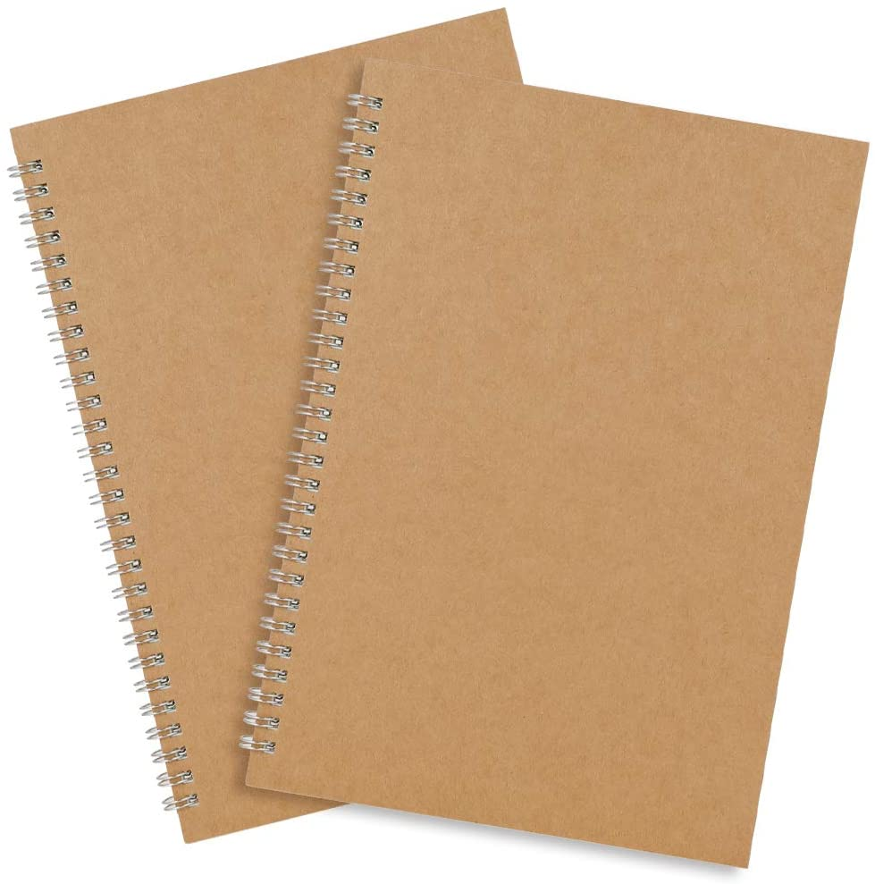 """BUBABOX 2PCS Spiral Blank Notebook, B5 Big Thick Spiral Bound Notebooks Memo Sketchbook for Students College Office Business Subject Diary Spiral Book Journal-Kraft Cover 10 X7"""" (50 sheets/100pages)"""