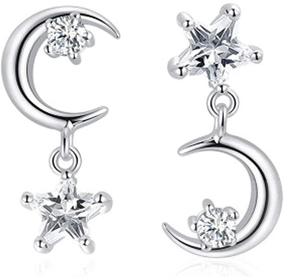 Fashion star and moon earrings asymmetric earrings classic five-pointed star and moon earrings jewelry