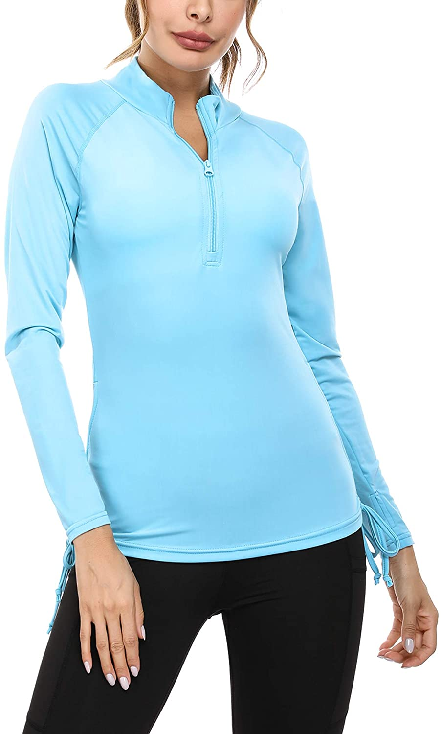 Sykooria Womens Half Zip Pullover Sweatshirts Long Sleeve Running Pullover Jacket Workout Athletic Shirts with Thumb Holes